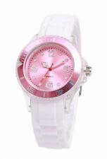 Silikon Armbanduhr Damen Kult Trend Gummi Watch weiß / Rosa ( F11 )