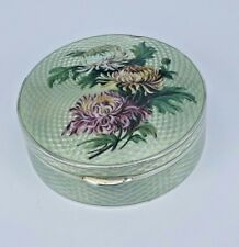 Large Guilloch enamel silver box with gold interior & Chrysanthemum top