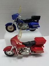 """Vintage Matchbox Red and Blue Harley-Davidson 4.5"""" Toy Motorcycles"""