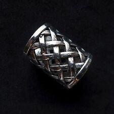 Scarf Ring, Tibetan Silver,  17mm internal x 3cm, weave pattern, gift bag