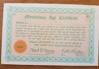 "Vintage 1940s Unused Postcard 1941 Novelty Postcard ""Mysterious Age Certificate"""