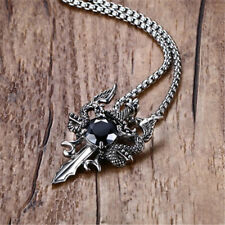 Men's Silver Plated Sword&Dragon w/ Black Zircon Pendant Long Necklace Chain