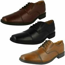 Mens Clarks Tilden Cap Black, Tan Or Brown Leather Smart Lace Up Shoes G Fitting