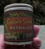 HALF POUND SIZE 12 PANEL  ANTIQUE  STONE PRESERVE JAR GOLDEN SHRED MARMALADE