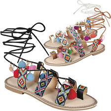 040f72adc6b1 Embroidered Strappy Rainbow Pom Pom Wrap Lace Up Gladiator Flat Sandals  Open Toe