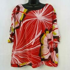 Worthington Women's Plus 1X Sheer Blouse with Liner Dolman Ruched Sleeves Red