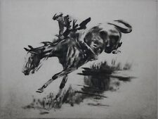 ERNST DOMBROWSKI-Austrian Realist-Signed Lim.Ed Etching-Horse Ride/Equestrian