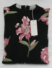 LADIES MARKS AND SPENCER PER UNA BLACK MIX FLORAL LONG SLEEVED JUMPER  SIZE 16