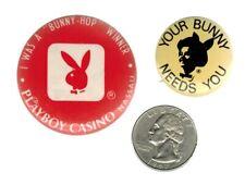 "2 PLAYBOY BUTTONS - Your Bunny Needs You / Nassau Casino ""Bunny Hop Winner"""