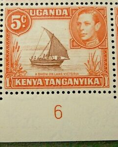 KENYA, UGANDA & TANGANYIKA 1949-54 SG133 KGVI 5c. REDDISH BROWN & ORANGE  -  MNH