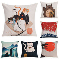 "18"" Japanese Cat Cotton Linen Pillow Case Sofa Throw Cushion Cover Home Decor"