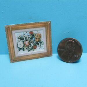 Dollhouse Miniature God Bless Our Home Floral Wall or Standing Picture TIN6002