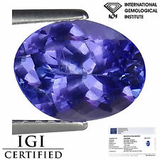 1.99 Ct IGI Certified AA Natural D Block Tanzanite Blue Violet Color Oval Cut