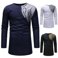 US Men's Autumn Winter Luxury African Print Long Sleeve Dashiki Shirt Top Blouse