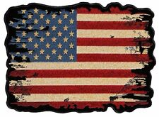 Distressed Looking American Flag Embroidered Biker Patch Large Size Ship