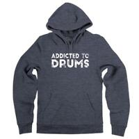 Mens Addicted To Drums Hoodie Drummer Music Musician Band