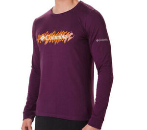 COLUMBIA LONG SLEEVED T-SHIRT TOP PURPLE / MAROON WITH FRONT LOGO LARGE RRP £30