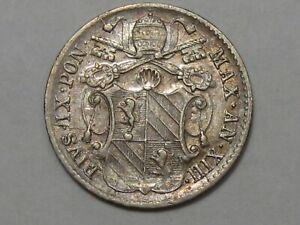 RARE Papal States, Rome, Vatican City: 1858-R Silver 5 Baiocco. Pope Pius IX