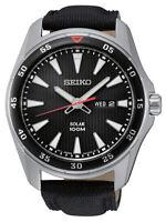 Seiko Men's SNE399 Solar Stainless Steel Black Dial Leather Strap Watch