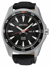 Seiko Men's SNE399 Solar Stainless Steel Black Dial Leather Strap Watch
