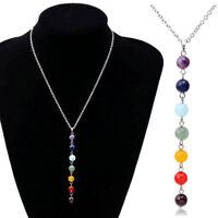 Natural 7 Chakra Stone Beads Pendant Chain Yoga Reiki Healing Balancing Necklace