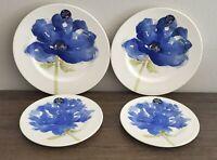 Royal Stafford Ivory Blue Poppy Flower Dinner Salad Plates Set of 4