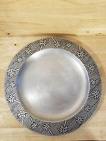 "Vintage Wilton Armetale RWP 12 3/8"" Metal Plate With Unique Pineapple Trim"