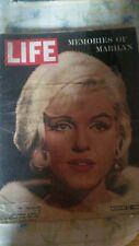 MEMORIES OF MARILYN MONROE LIFE MAGAZINE AUG 17 1962 JOE DIMAGGIO ARTHUR MILLER