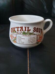 Vintage retro Ceramic Recipe Oxtail Soup Mug Bowl Pre Owned