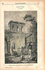 Capriccio autour d'une fontaine peinture de Hubert Robert peintre GRAVURE 1877