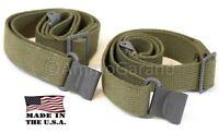 2ea 2-Point Slings Cotton Web OD for M1 Garand & Civ Rifles Shotguns NEW US Made