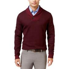 Tasso Elba 1265 Mens Red Pique Geometric Shawl-Collar Sweater Top L BHFO