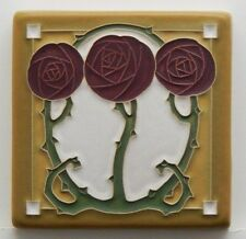 4x4 Arts & Crafts Macintosh Rose Tile Russet by Arts & Craftsman Tileworks
