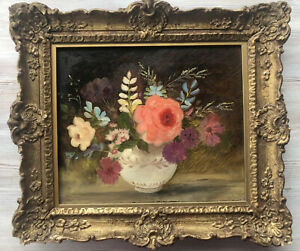 Antique Still Life Flowers in A Jug Oil Painting