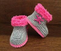 Baby Goth Emo Punk Hand Knitted Crochet Booties Boots Skulls 0-12M Pink Grey