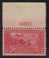 1925 Sc 618 Lexington-Concord MNH VF-XF plate number CV $29