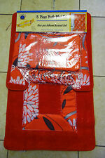 15PCS ANA BRIGHT RED BATHROOM BATH MATS SET RUG CARPET SHOWER CURTAIN
