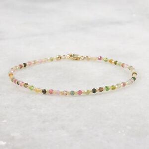 Tourmaline Bracelet, 14k Gold Filled, Tiny Bead Ultra Skinny Multicolor