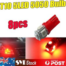 8pcs Red T10 5050 5SMD Led Lights Car Side Wedge Courtesy Turn Dash Lamp Bulbs