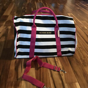 Victoria's Secret Large Weekender Duffle/Tote Blk & White Stripes Pink 20x12x10