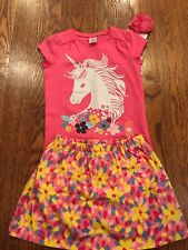 Gymboree Girls Unicorn Flower Tee w/ Floral Skort & Pink Flower Hair Tie NWT GYM