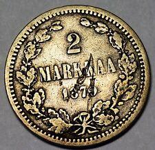 Finland/Russia Silver Rare Error Alexander II Monogram Struck on 1870 2 Markkaa