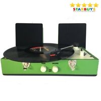 Record Player Retro Vinyl Turntable Carry Case Au in Out Music Hi-Fi System NEW