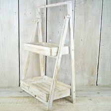 Shabby Chic Rustic Wood Folding Stand Shelf Unit Display Step Kitchen Bathroom
