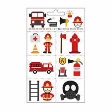 1x Kids Cartoon Fireman Firetruck Waterproof Temporary Tattoos Sticker Removable
