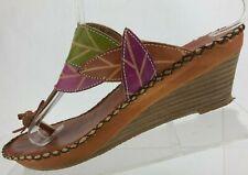 Spring Step Thong Sandals Carolyn Multicolored Slide Fancy Wedge Womens 38 7.5,8