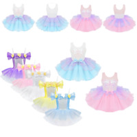 Kid Girl Lyrical Dancewear Sequin Ballet Tutu Skirt Mesh Splice Dress Gymnastics