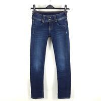 Pepe Jeans Gen Damen W25 L32 Blau Mid Waist Straight Dark Wash