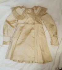 Antique Victorian Child's Cream Silk Coat with Irish Crochet Lace Trim