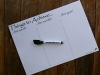 A4 Goal Chart Fridge Magnet Whiteboard Weekly Monthly Yearly Student Planner pen